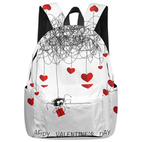 WHEREISART Spider Love Heart Happy Valentine'S Day Backpacks Junior High School Student Soft And Comfortable Outdoor Activities