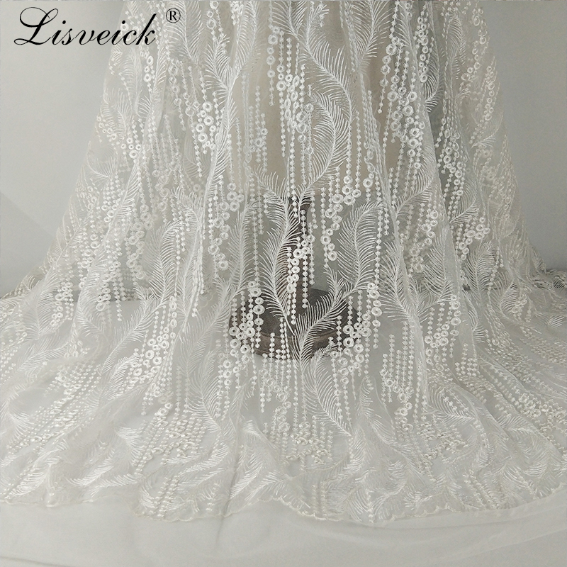 5 colors can choose 1yard Polyester Embroidered Seaweed Flower Mesh Lace Fabric diy Wedding Dress skirt materials in Fabric from Home Garden