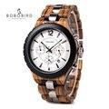BOBO VOGEL Relogio Masculino Luxus Marke Militär Uhr Quarz Datum Armbanduhr Holz Chronograph Zeitmesser Geschenk für Vater J R22-in Quarz-Uhren aus Uhren bei