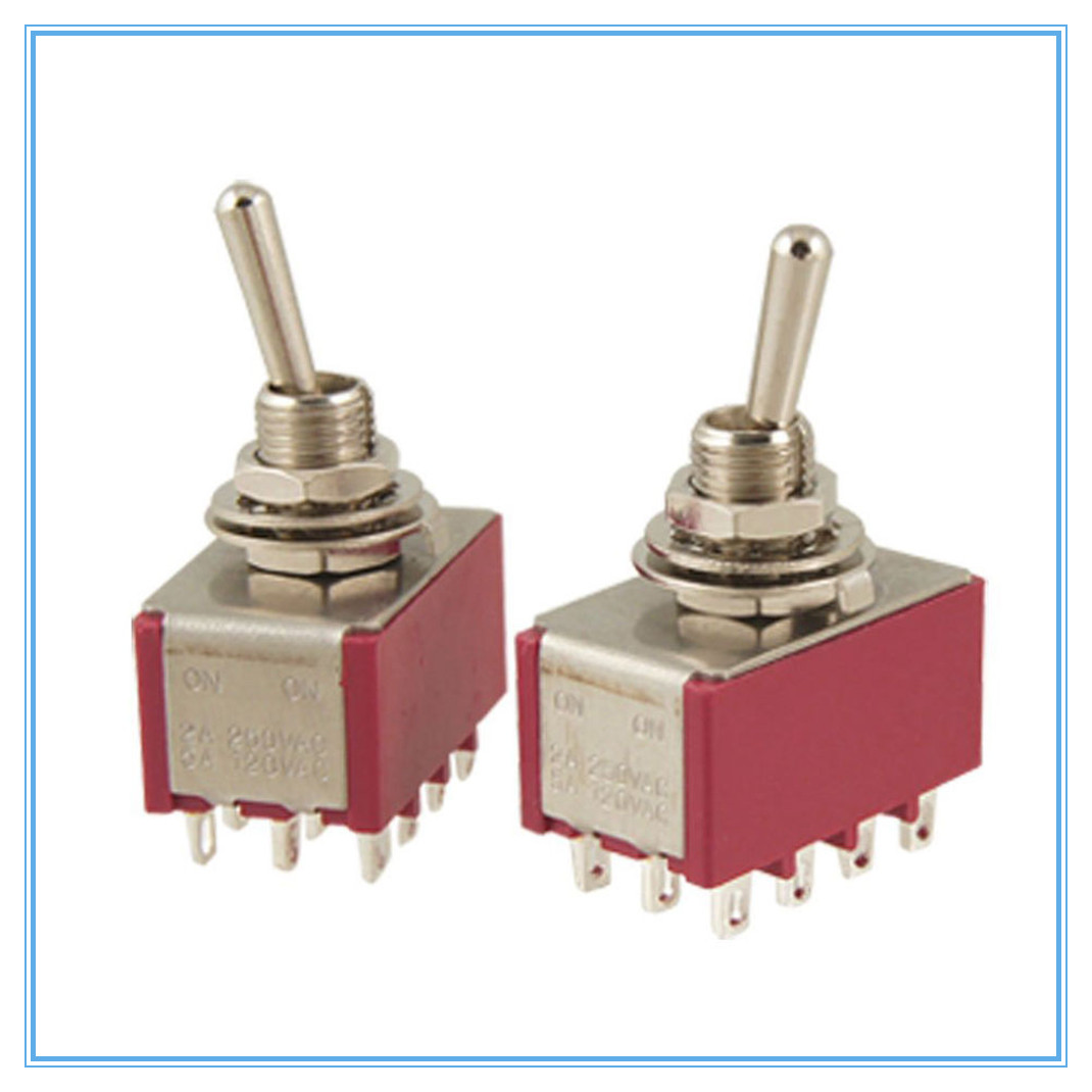 2 Pcs AC 250V 2A 120V 5A 12 Pin 4PDT ON/ON Toggle Switch image