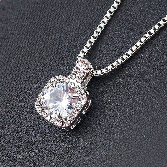 New Fashion 2019 Square Rhinestone Crystal Zircon Pendant Necklace Women Silver Metal Chain Necklace Jewelry 1