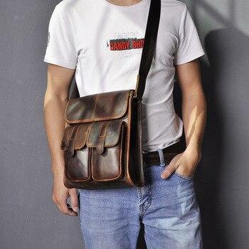 Men's Leather Bag Vintage Men's 10-Inch Panel Computer Single-Shoulder Crossbody Bag