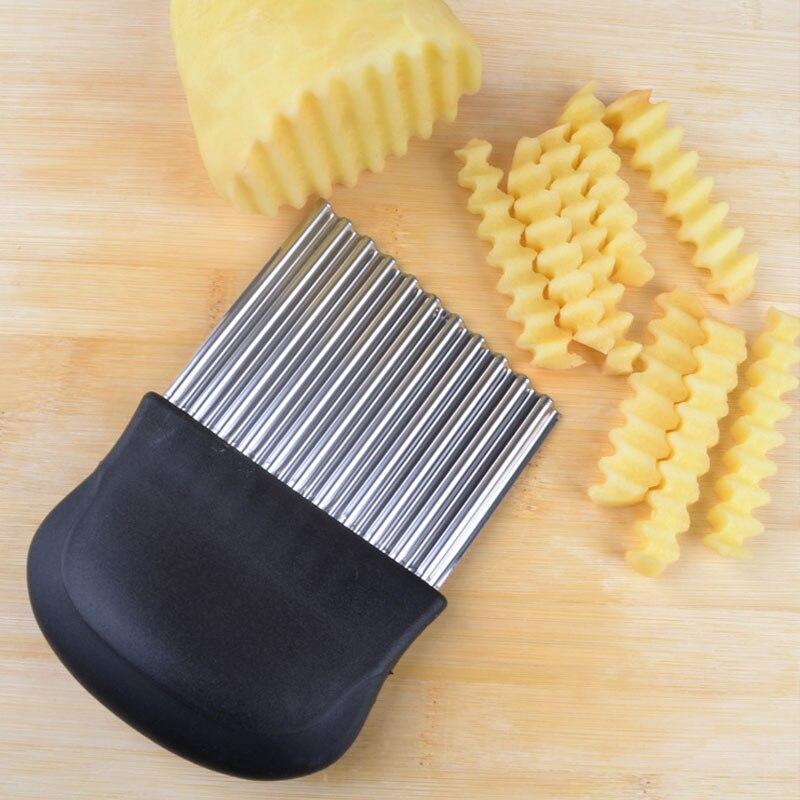 Слайсер из нержавеющей стали для картофеля, волнистый нож для резки теста, овощей, фруктов, картофеля, измельчитель, фри