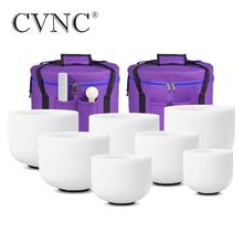 """CVNC Chakra tuned  7PCS 7"""" 14"""" Note CDEFGAB  Frosted Quartz Crystal Singing Bowl Set  with 12"""" and 14"""" Carry Bags"""