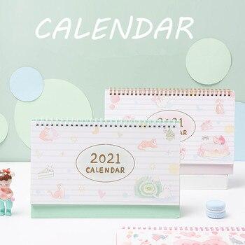 2021 Cat's Dessert House Desk Calendar Creative Bronzing Coil Calendars Daily Schedule Planner 2021.08-2021.12 1