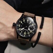 Corgeut โหมด Leder Top Leucht Mechanische Handaufzug Uhr 17 Juwelen ST3600 Seagull 6497 bewegung กีฬา Handgelenk Mann Uhr