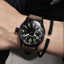 Corgeut Modu Leder En Leucht Mechanische Handaufzug Uhr 17 Juwelen ST3600 Martı 6497 bewegung Spor Handgelenk Mann Uhr