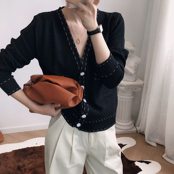 Yeeloca Casual Knitted Sweater Female Full Sleeve Black And White V-neck Single Breasted Cardigan Autumn Women Korean Loose Top