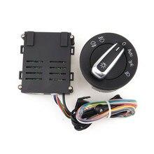 Leitxt interruptor cromado cabeça de carro, + sensor de lâmpada automático para vw passat b5 jetta golf 4 mk4, novo bora polo beetle lavida»