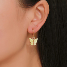 HelloMiss New fashion earrings color acrylic butterfly pendant sweet colorful popular womens jewelry