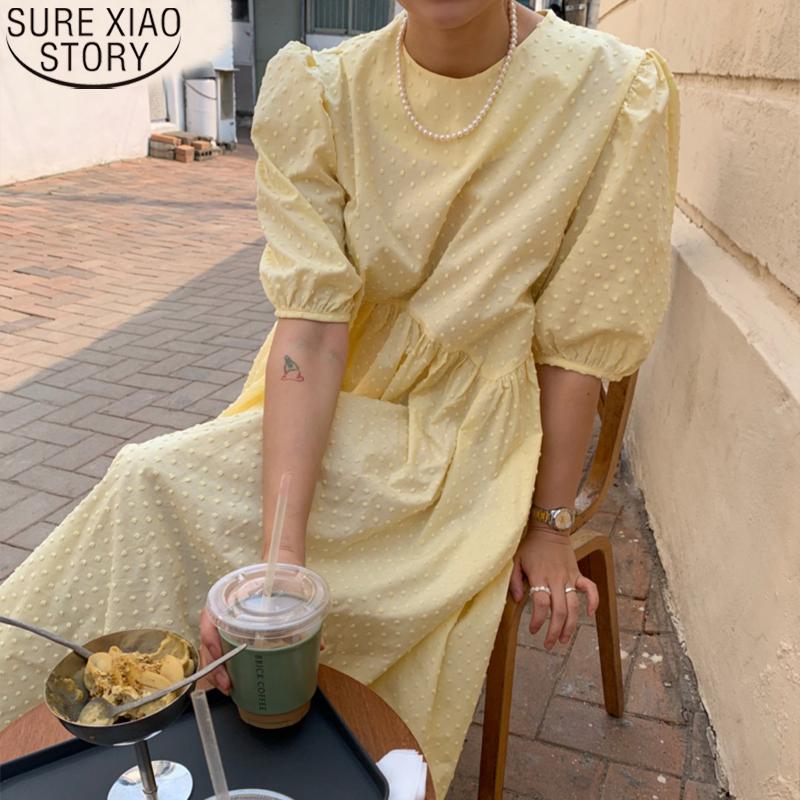 Women Long Dress 2021 Summer Casual O neck Puff Sleeve Oversize Dots Elegant Female Dress Ladies Loose Vestidos Femme 9941