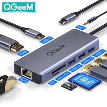 QGeeM USB C Hub für Macbook Pro Air 2020 Xiaomi HDMI VGA SD Micro SD Kartenleser RJ45 Aux PD Ladegerät OTG Multi USB Hub Typ C Dock 3.0 mit Netzteilteiler für Notebook-Laptops Tablets Computer PC Zubehör Dockingstation