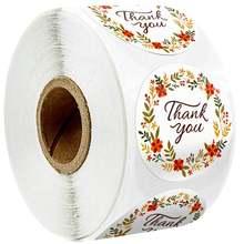 500 шт круглые наклейки с цветами и надписью «thank you»