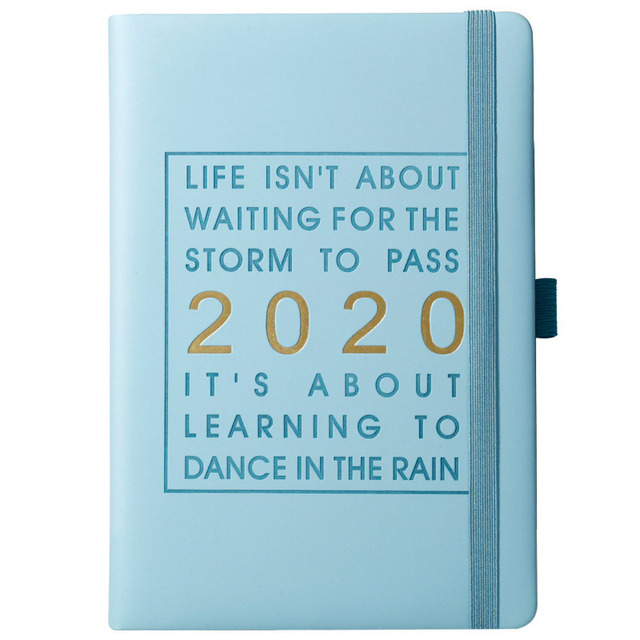 New Fashion Agenda 2020 Thicken notebook A5 Leather softcover Planner 2020 Jan-Dec Timeline Efficiency journal English language 5