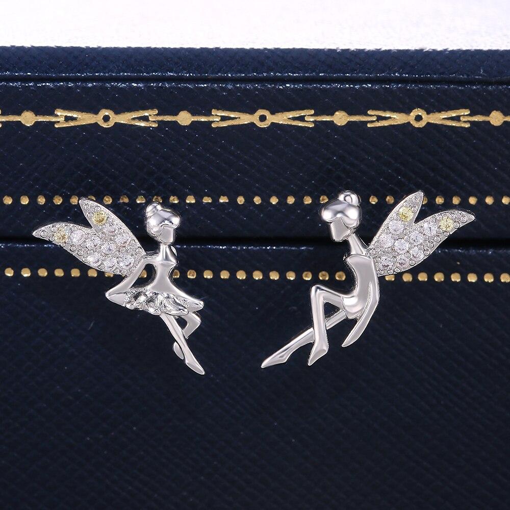 Huitan Delicate Fairy Stud Earring Women with Shine Cubic Zircon Wing Flying Little People Fine Gift for Girl Daily Wear Earring