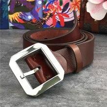 Stainless Steel Belt Buckle Quality Super Thick Men Genuine Leather Ceinture Wide Waist SBT0004