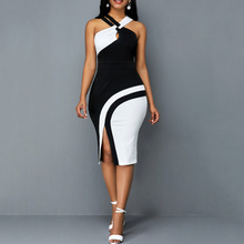 цена на Sexy Cross Belts Sleeveless Cocktail Party Dress Color Block Women Summer Dress Midi Bodycon Vestidos Front Slit Maxi Sundress
