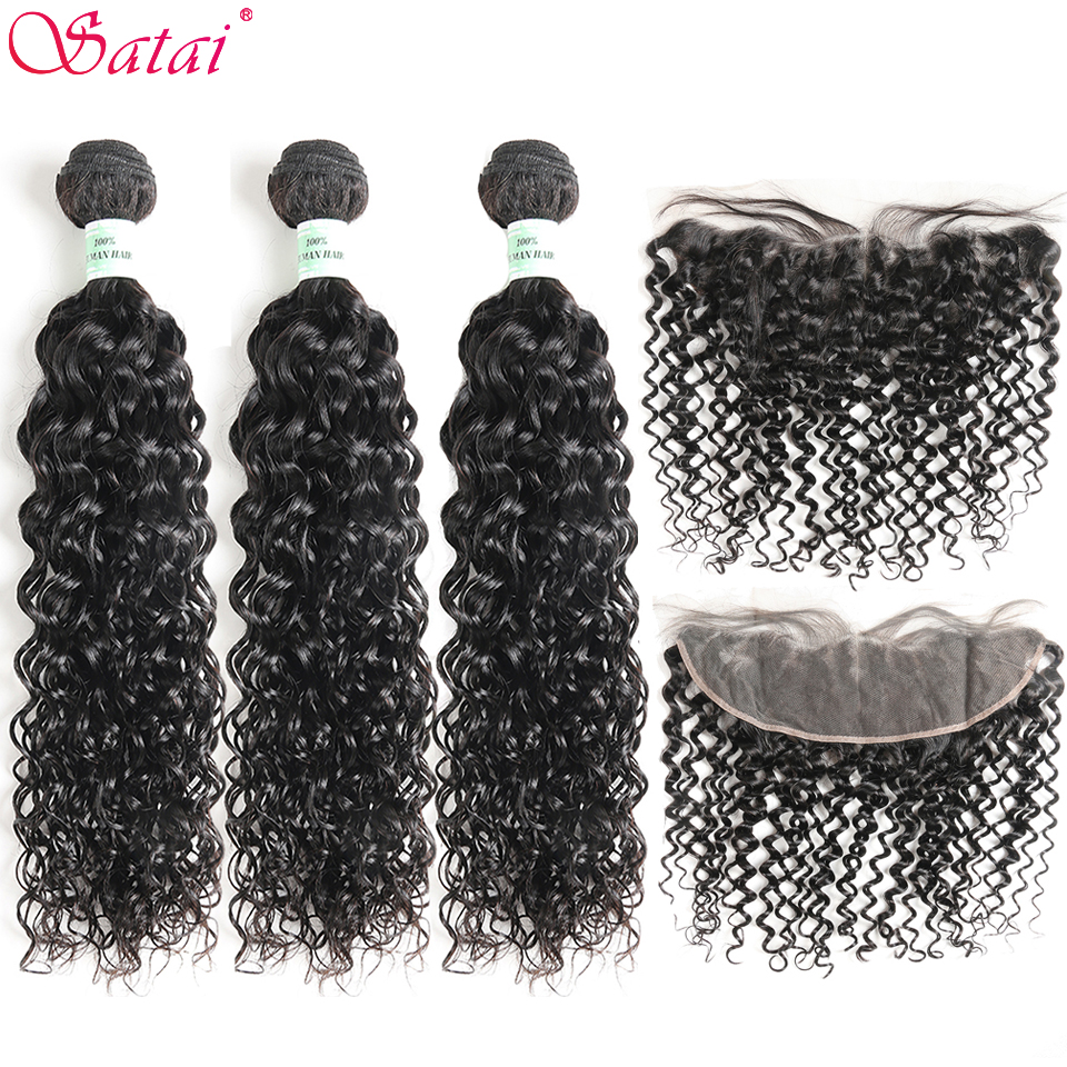 Satai Brazilian Hair Water Wave 3 Bundles With Frontal 100% Human Hair Bundles With Frontal Non Remy Hair Extensions