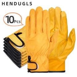 HENDUGLS 10 sztuk nowa darmowa wysyłka rękawice ochronne D klasy skóry wołowej żółty ultracienka skóra rękawice ochronne 527NP