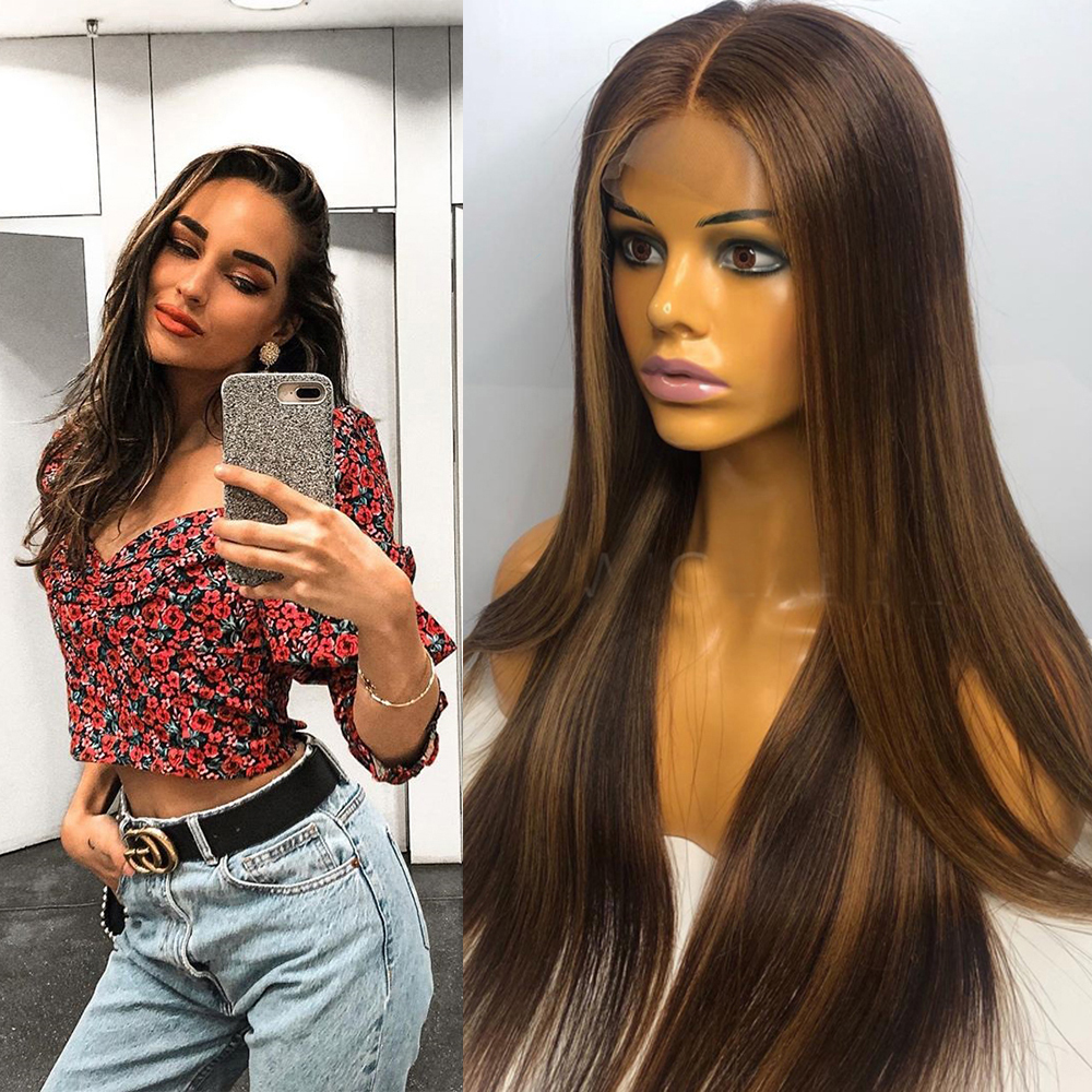 Eversilky Transparent Lace Highlights Honey Blonde Remy Hair Peruvian 13x6 Lace Front Human Hair Wigs Pre Plucked Straight Brown