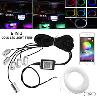 8M RGB Car Interior Lighting Auto Dash Board Door Atmosphere Strip Light APP Remote Control Ambient Lamp Decorative Neon Light
