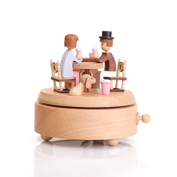 MGT Wooden rotating music box clockwork music handmade wooden box crafts accessories retro home decoration Valentine's Day gift