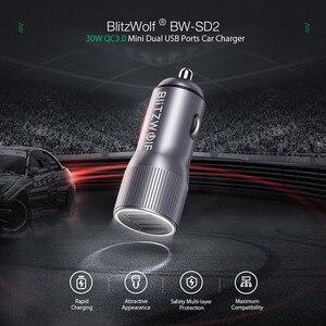 Image 2 - BlitzWolf Mini Car Charger สำหรับโทรศัพท์มือถือ 30W QC3.0 2.4A Dual USB พอร์ตชาร์จ DC 12 24V สำหรับ iPhone 11 Pro Xiaomi Mi 9