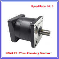 Nema23 Planeten Getriebe 10:1 Verhältnis Geschwindigkeit Minderer 8mm eingang 14mm ausgang für Flansch 57mm Schrittmotor Hohe kosten Leistung