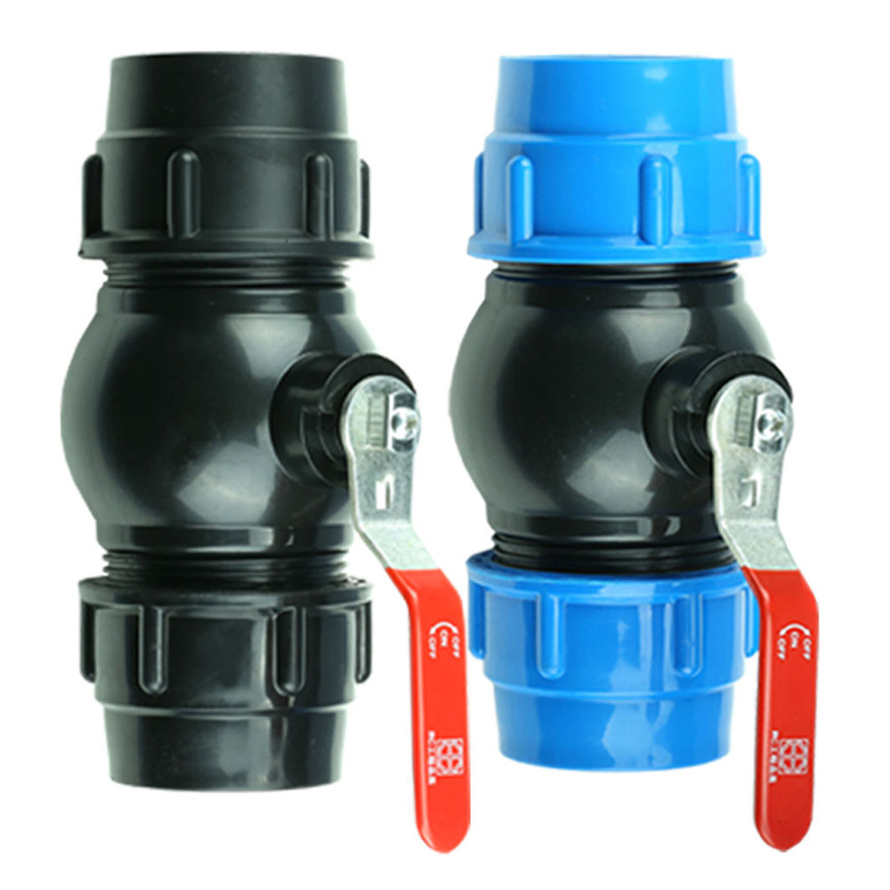 Free Shipping 20/25/32/40/50/63mm Plastic Water Pipe Steel Handle Quick Valve Connector PE Tube Ball Valves Accessories