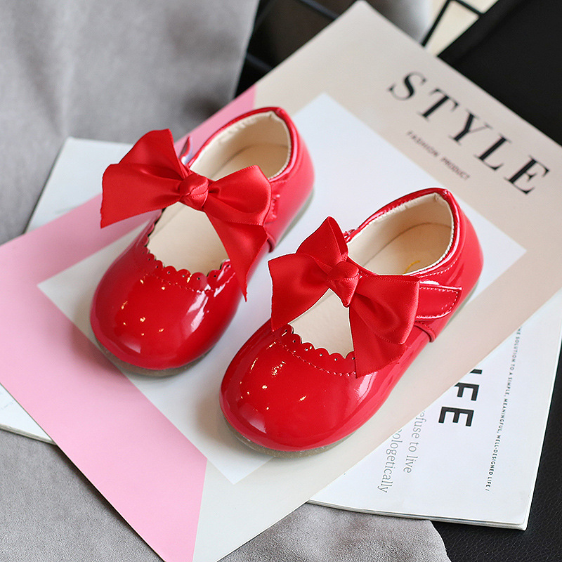 Ainyfu Kids Leather Shoes Baby Girl Cute Bow Multi-purpose Single Shoes New Korean Version of the Princess Shoes Dance ShoesD290