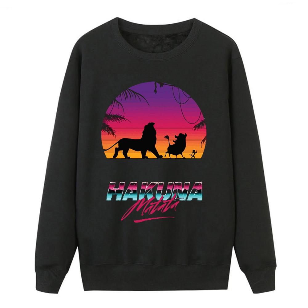 Kawaii Sweatshirts For Women Hakuna Matata Print Hoodies Pullover 2019 Winter Autumn Fleece Women Brand Sportswear Casual Tops