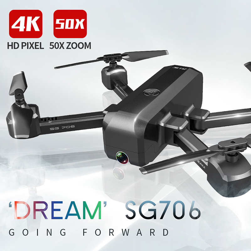 SG706 RC Drone 4K HD Dual Camera 50X Times Zoom WIFI FPV Foldable Quadcopter Helicopter Professional Drones Stable Height