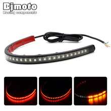 Universal LED Flexible Motorcycle License Plate Light Red And Amber Taillight Brake Stop Turn Signal Lamp for ATV Truck SUV 5pcs motorcycle light 48 led flexible strip for tail brake bulbs stop turn signal lights license plate lamp red and yellow 8inch
