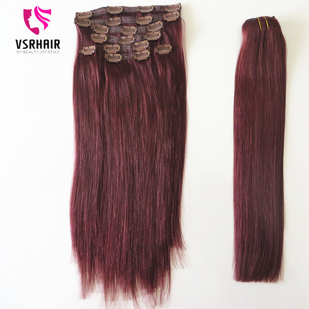VSR Clip In Hair Extension Machine Remy Hair Bottom Natural Clip Ins 8pcs/set Clips Human Hair