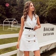 Conmoto rayure sans manches bureau robe courte femmes 2019 automne hiver moulante poche Blazer robe bouton affaires robe blanche
