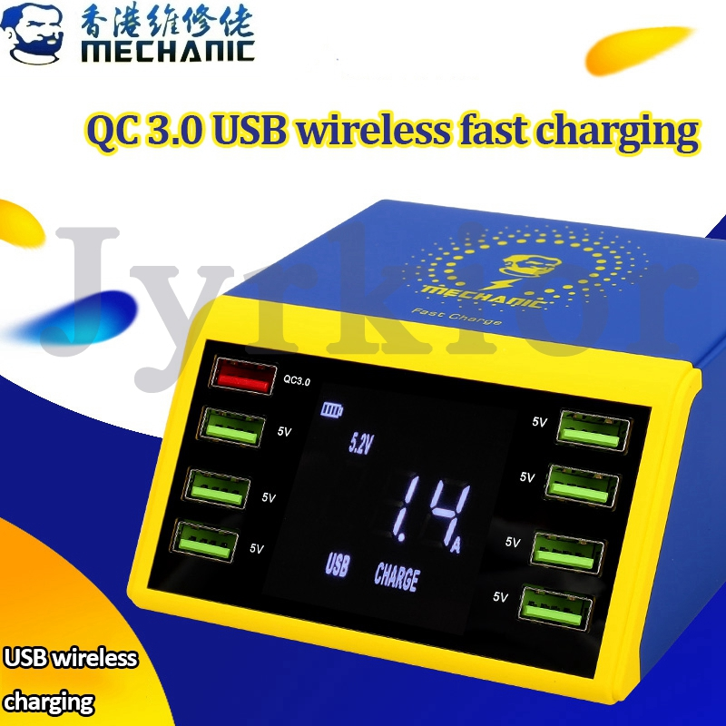 MECHANIC LCD Digital Display Fast Charger 8 Port USB Charging Dock QC 3.0 With 10W Wireless Charger For IPhone 6/7/8/X/XS MAX/11