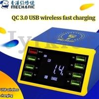 MECHANIKER LCD Digital Display Schnelle Ladegerät 8 Port USB Lade Dock QC 3 0 mit 10W Drahtlose Ladegerät Für iPhone 6/7/8/X/XS MAX/11-in Handwerkzeug-Sets aus Werkzeug bei
