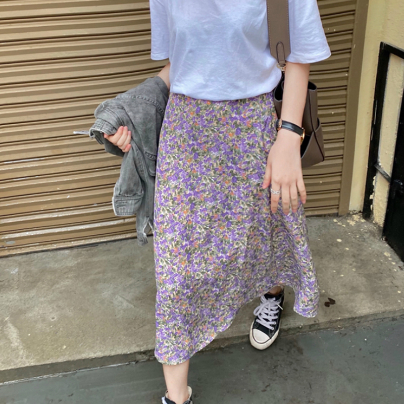 Vintage Floral Print Ruffle Chiffon Pleated Long Skirts Women Korean Skirt Streetwear Drawstring Elastic Waist Midi Skirt