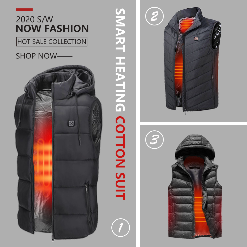 Plus Size Men's Upgraded Heating Vest Winter Warm Casual Lightweight Infrared Heated Vest USB Waistcoat Electric Insulated