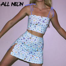 ALLNeon E-girl Butterfly Graphic Tank Tops and Mini Skirts Matching Set