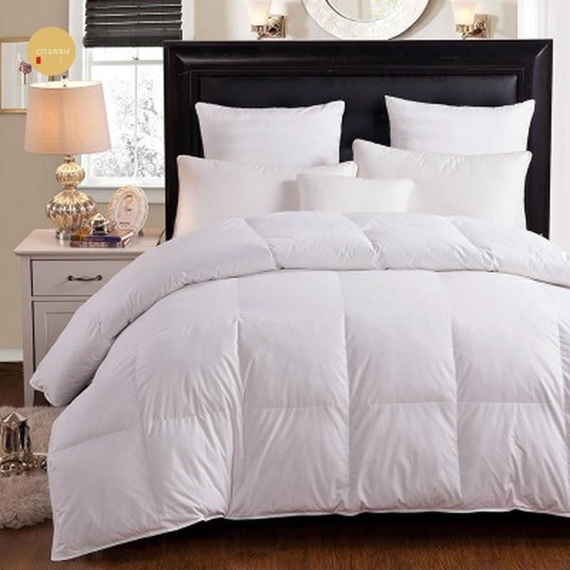 Купить 100% гусиный/утиный пух тёплое одеяло хлопковое покрытие для
