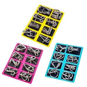 Image 2 - 8 sztuk/zestaw Metal Montessori Puzzle drut IQ umysł łamigłówka Puzzle dzieci dorośli interaktywna gra Reliever edukacyjne zabawki