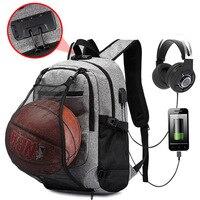 Anti Theft Backpack Men Sport Basketball Backpacks For School Teenagers USB Charger Travel Bagpack Waterproof 15.6 Notebook Bag