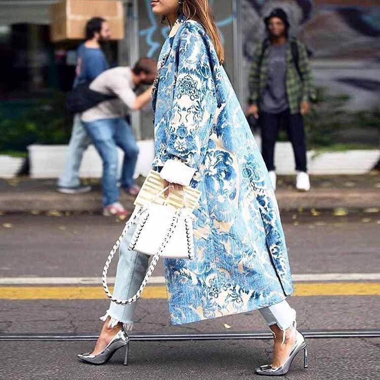 2019 Autumn Casual   Trench   Coat Women Pattern Long Coat Outwear Long Sleeve Print Fashion Coat