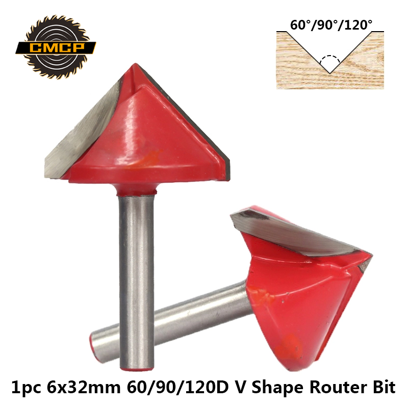 1pc 60/90/120 Degrees V Shape Engraving Bit 6x32mm V Groove Wood Router Bit Tungsten Carbide End Mill Chamfer Milling Cutters