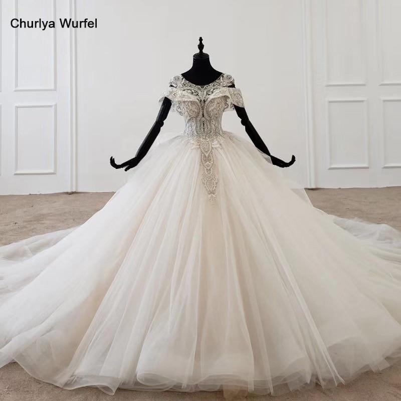 HTL1144 ball gown wedding dress boho boho plus size o neck lace up back corset bridal dress cap sleeve bead vestdos de noviaWedding Dresses   -