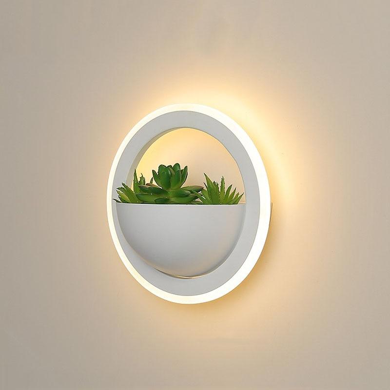wecus nova arte planta luz de parede simples e moderno lampada cabeceira personalidade criativa corredor