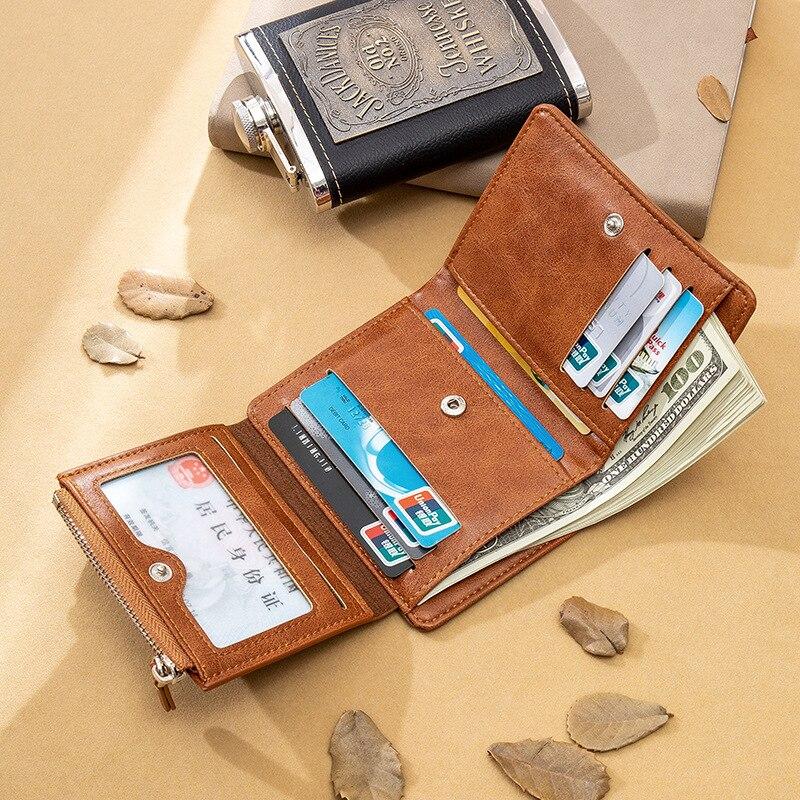 Купить с кэшбэком Three fold wallet man short zipper small PU mini wallets Retro coin pocket compartment porte feuille homme vintage clutch bag