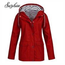 Suzhan 2019 Autumn Winter Women Solid Rain Jacket Outdoor Plus Waterproof Hooded