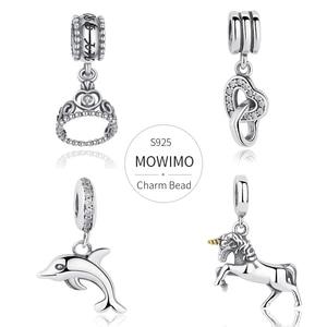 Image 1 - قلادة متدلية من الفضة الإسترليني 925 من MOWIMO حقيقية مرصعة بخرز من الزركون متعددة الأشكال ملائمة سوار فضي أصلي للسيدات مجوهرات